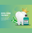 dental crown treatment concept design template vector image vector image
