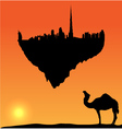 Dubai silhouette flying island vector | Price: 1 Credit (USD $1)