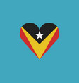 east timor flag icon in a heart shape in flat vector image vector image