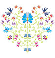 Ethnic folk floral pattern in heart shape on white vector image vector image