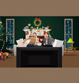 family watching tv during christmas season vector image