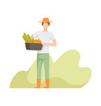 farmer harvesting people working in the garden vector image vector image