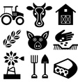 Farming black icons on white vector image