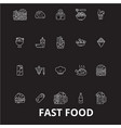 fast food editable line icons set on black vector image vector image