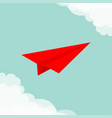 flying origami red paper plane cloud in corners vector image vector image