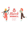 girls and flowers international womens day vector image