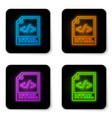 glowing neon html file document icon download vector image vector image