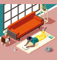 home reading weekend isometric vector image