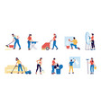 housekeeper characters with mops and buckets vector image