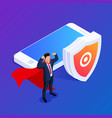 isometric database protection concept protect vector image vector image