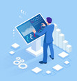 isometric digital monitor with infographics male vector image vector image