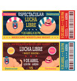 lucha libre ticket mexican wrestlers in masks vector image vector image