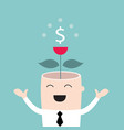 money tree growing from businessman head business vector image vector image