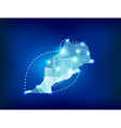 Morocco country map polygonal with spot lights vector image