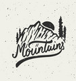 mountains mountain on grunge background vector image vector image