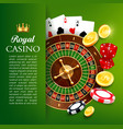online casino roulette and chips gambling games vector image