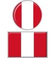 Peruvian round and square icon flag vector image