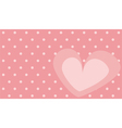 Pink heart with polka dots on background vector image vector image