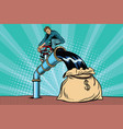 retro businessman fills the oil in the bag of vector image vector image
