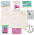 retro postcard with set fashion stamps vector image vector image