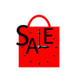 sale inscription with clocks on shopping bag vector image