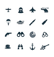 set army icons vector image