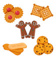 set biscuits gingerbread boy vector image vector image