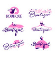 set boutique lettering and typography hand vector image