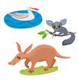 set of wild animals in cartoon style vector image