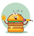 singing burger is holding a microphone on white vector image vector image