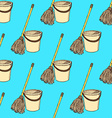 Sketch mop and bucket vector image