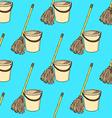 Sketch mop and bucket vector image vector image