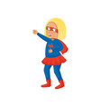 smiling blonde girl in red blue super hero costume vector image vector image