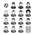 soccer football player black icons vector image vector image