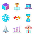 space industry icons set cartoon style vector image vector image