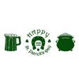 st patricks day green icon set vector image