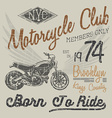 T-shirt typography design motorcycle NYC printing vector image vector image