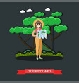 tourist card concept in flat vector image vector image