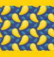 tropical seamless pattern with mango on a blue vector image vector image
