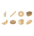 types of bread icons in set collection for design vector image vector image