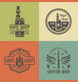 vape shop and electronic cigarette emblems vector image