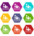 water polo icon set color hexahedron vector image vector image