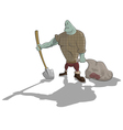 Gravedigger with shovel and sack vector image