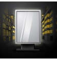Blank white vertical billboard on night city scape vector image