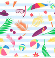 summer pattern with beach objects and accessories vector image