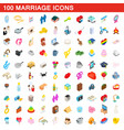 100 marriage icons set isometric 3d style vector image vector image