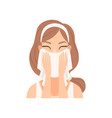 attractive young woman wiping her face with a vector image vector image