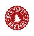 bbq party scratched stamp seal with fir-tree vector image