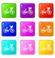 bike with luggage icons 9 set vector image vector image