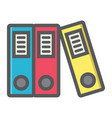 Binders colorful line icon business and folder